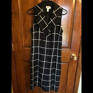 Talbots sleeveless Linen/Rayon black/white dress
